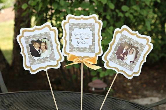 Golden Anniversary 50th Anniversary Centerpiece Sticks Anniversary