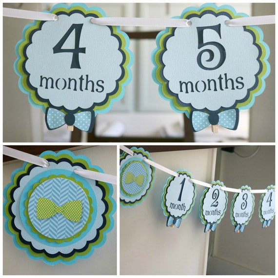 LITTLE MAN Birthday Party Decorations First Year Banner 12 Month Bunting Little Man Our