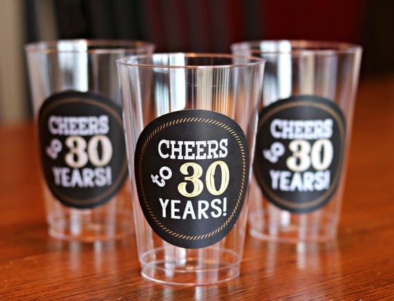 30TH BIRTHDAY PARTY Cups Cheers To 30 Years Beer Wine Glass 30th Birthday Party Decorations Black And Gold