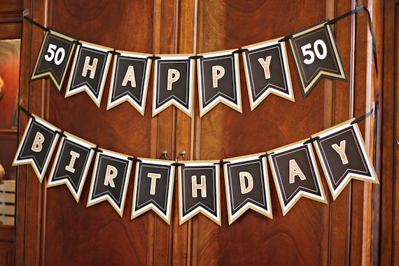50TH BIRTHDAY PARTY Banner Milestone Birthday Party Decorations 40th 60th 70th Black And Gold