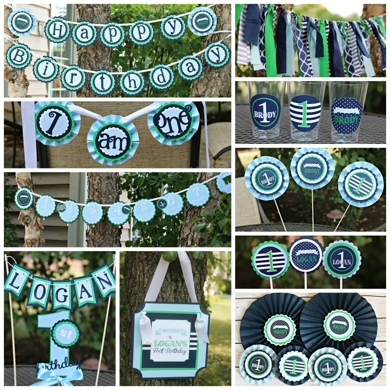 PREPPY BIRTHDAY PARTY Decorations Boy 1st Birthday Blue First