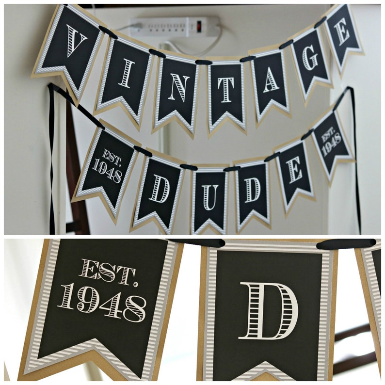 VINTAGE DUDE BANNER 70th Birthday Party Cheers To 70 Years