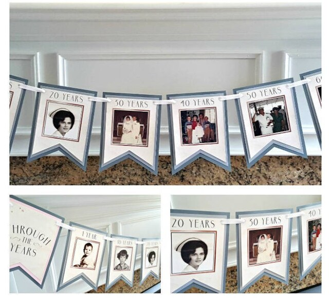 70th BIRTHDAY DECORATIONS Decade Photo Banner Memory Through The Years Rose Gold Silver