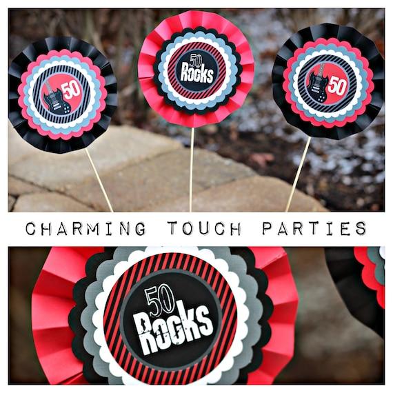 50 ROCKS DECORATION 50th Birthday Centerpiece Sticks Party Decorations Rock N Roll Guitar Music