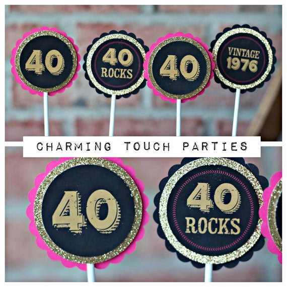 40TH BIRTHDAY CUPCAKE Toppers 40 Rocks Vintage 1979 40th Party Decorations Women Birthday Female Hot Pink Black And Gold