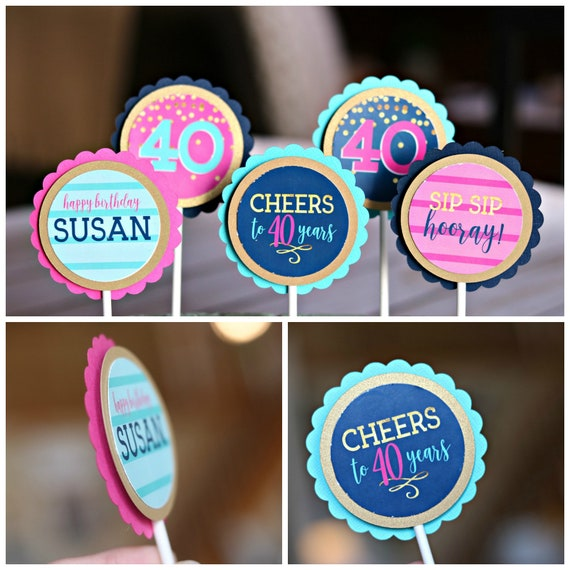 40th BIRTHDAY PARTY Decorations Cupcake Toppers Female Birthday Womens Cheers To 40 Years Navy Blue And Hot Pink