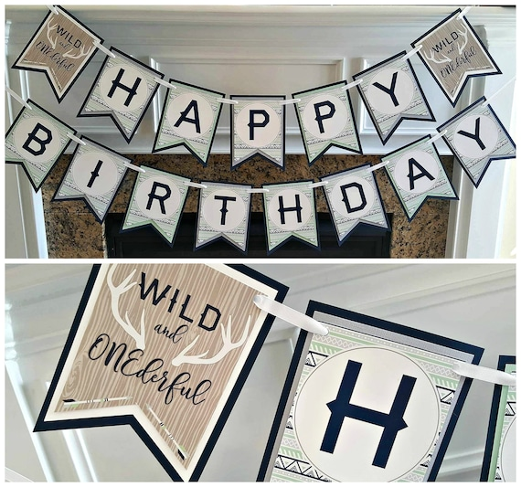 BOY WILD ONE Birthday Party Banner Wild And Onederful Boho Decorations Navy Blue Mint Green