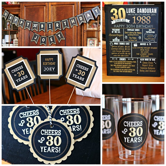 30TH BIRTHDAY BANNER Happy Birthday 30th Decorations Party Decor Cheers To 30 Years Vintage Black And Gold