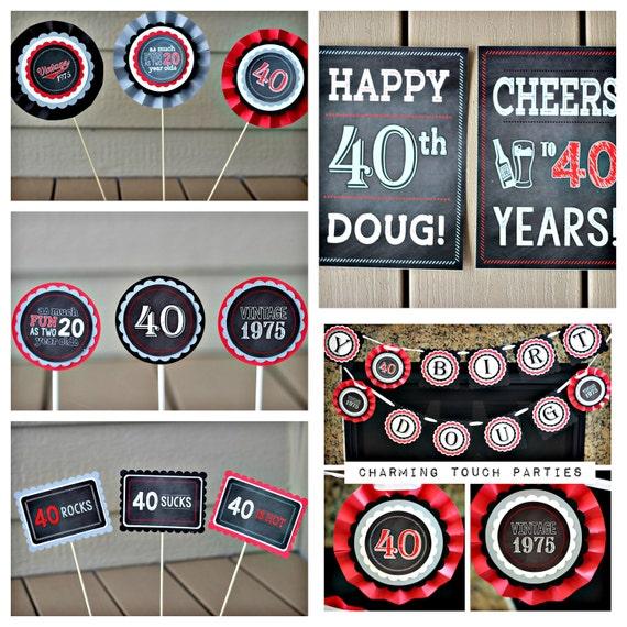 40TH BIRTHDAY DECORATIONS Masculine Party Decor Mens Birthday