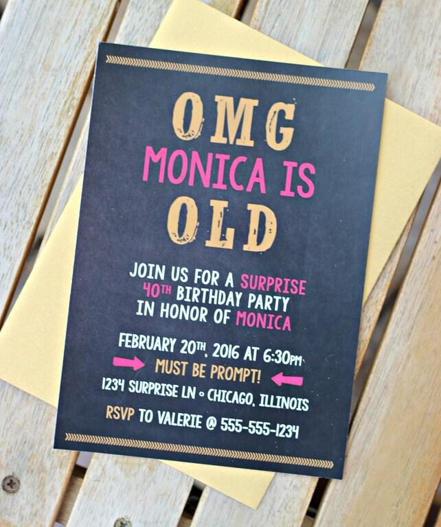PRINTED 40TH INVITATION Ladies 40th Birthday Party Invitation Funny Modern Hot Pink Black Gold