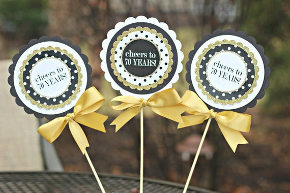 Awe Inspiring 70Th Birthday Centerpiece 70Th Birthday Party Decorations Party Centerpiece Birthday Centerpiece Sticks Cheers To 70 Years Black Gold Download Free Architecture Designs Rallybritishbridgeorg