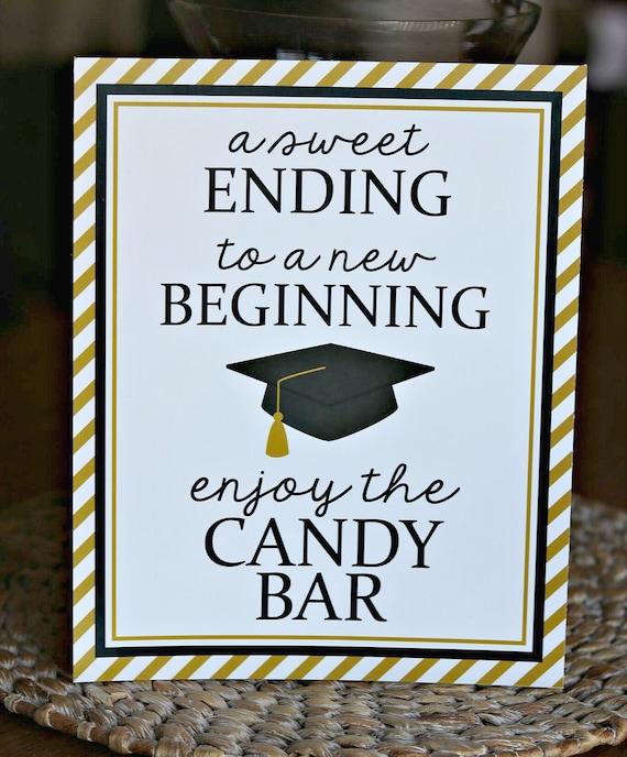 Graduation Candy Bar Black and Gold Labels on Sticks Set Graduation Candy Bar Dessert Buffet Decorations Sweet Success Glitter Banner A Sweet Ending to A New Beginning Sign Pre-assembled Labels on Sticks