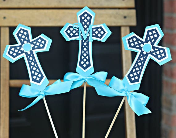 Boy First Communion Cross Centerpiece Sticks Baptism Decorations