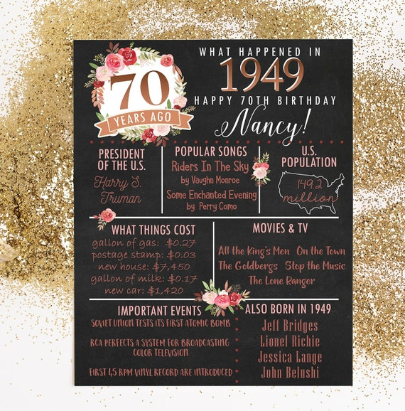 PRINTED 70th Birthday Poster Back In 1949 What Happened Decorations Pink Copper Party Decor Vintage