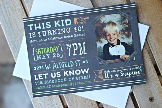 Image of: Judd Apatow This Kid Is 40 Printed Invitations 40th Birthday Party Invite Cheers To 40 Years Masculine Birthday Milestone Invitation Funny Birthday Catch My Party This Kid Is 40 Printed Invitations 40th Birthday Party Invite