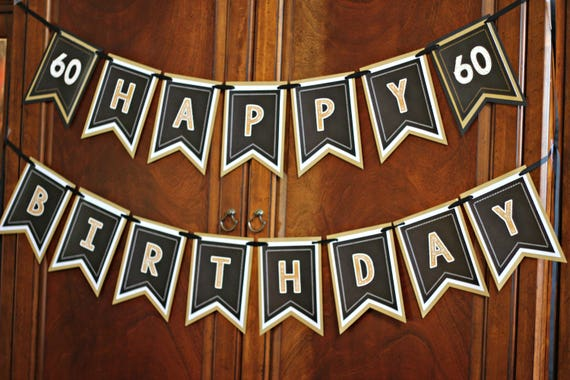 60th BIRTHDAY PARTY BANNER Milestone Birthday Party Decorations 40th 50th 70th Black And Gold