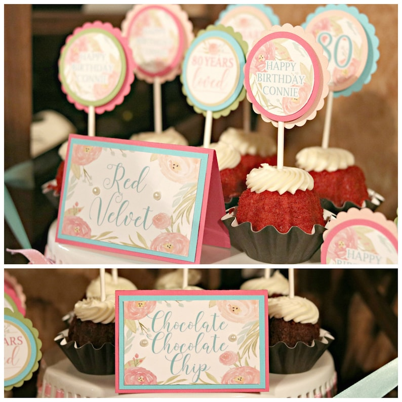 80TH BIRTHDAY DECORATIONS Floral Birthday 80th Party Cupcake