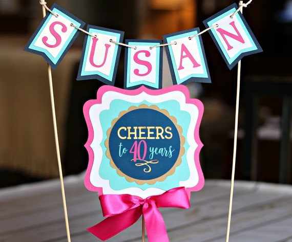 40th BIRTHDAY PARTY Decorations Cake Topper Female Birthday Womens Cheers To 40 Years Navy Blue And Hot Pink