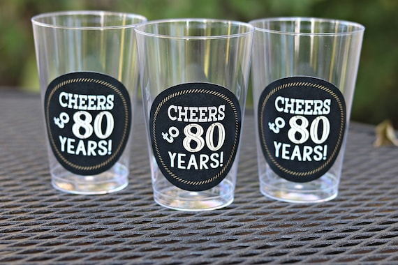 80TH BIRTHDAY PARTY Cups Cheers To 80 Years Beer Wine Glass 80th Birthday Party Decorations Black And Gold