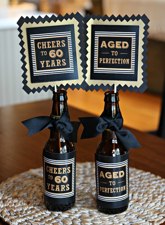 60TH BIRTHDAY DECORATIONS 60th Party Centerpiece Table Decorations Beer Bottle Labels Birthday For Him