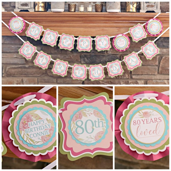 80TH BIRTHDAY DECORATIONS Floral Birthday 80th Party Banner Happy Pink Milestone For Her And Aqua