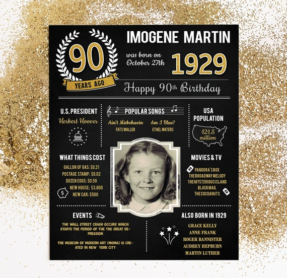 PRINTED 90th Birthday Poster Back In 1929 What Happened Decorations Black And Gold Party Decor Vintage