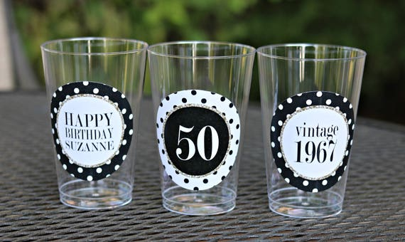 50TH BIRTHDAY DECORATIONS 50th Birthday Party Cups Plastic Cheers To 50 Years Ladies For Her Black Gold