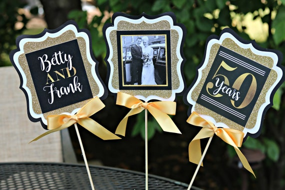 Golden Wedding Centerpieces.Golden Anniversary 50th Anniversary Party Decorations