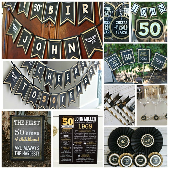 BLACK And GOLD Milestone Birthday Party Decorations Adult Decor 50th Package