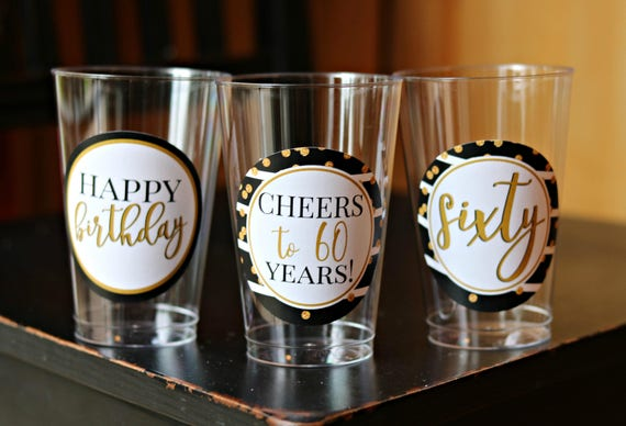 60TH BIRTHDAY DECORATIONS 60th Birthday Party Cups Plastic Cheers To 60 Years Ladies For Her Black Gold
