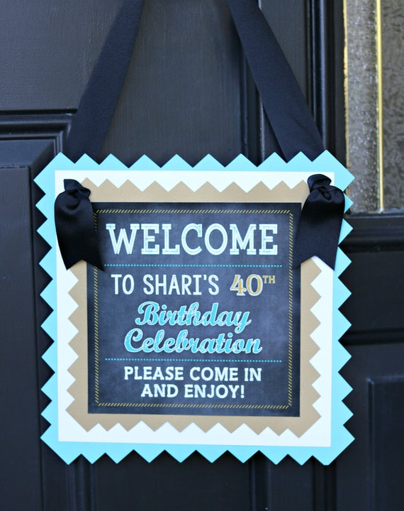 LADIES 40TH BIRTHDAY Decorations Birthday For Her Party Decor Turquoise And Gold Cheers To 40 Years Welcome Sign Door