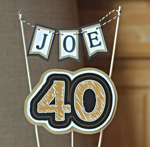 40TH BIRTHDAY CAKE Topper 40th Birthday Party Decorations