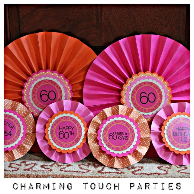 60TH BIRTHDAY DECORATIONS Decorative Rosettes Paper Fans Medallions 60th Party Decorations Hot Pink And Orange