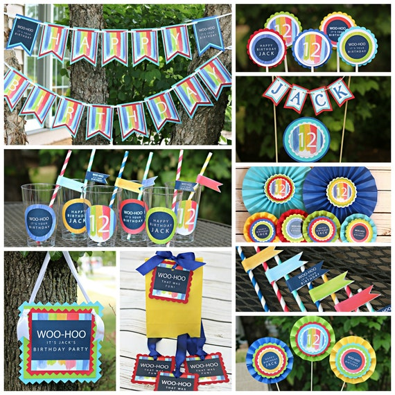 BRIGHT AND COLORFUL Birthday Party Decorations Cheerful Package Boy Tween Teen Rainbow Colors