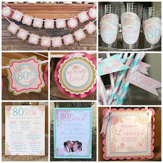 80TH BIRTHDAY DECORATIONS Floral Birthday 60th 70th Pink Milestone For Her 80th Banner