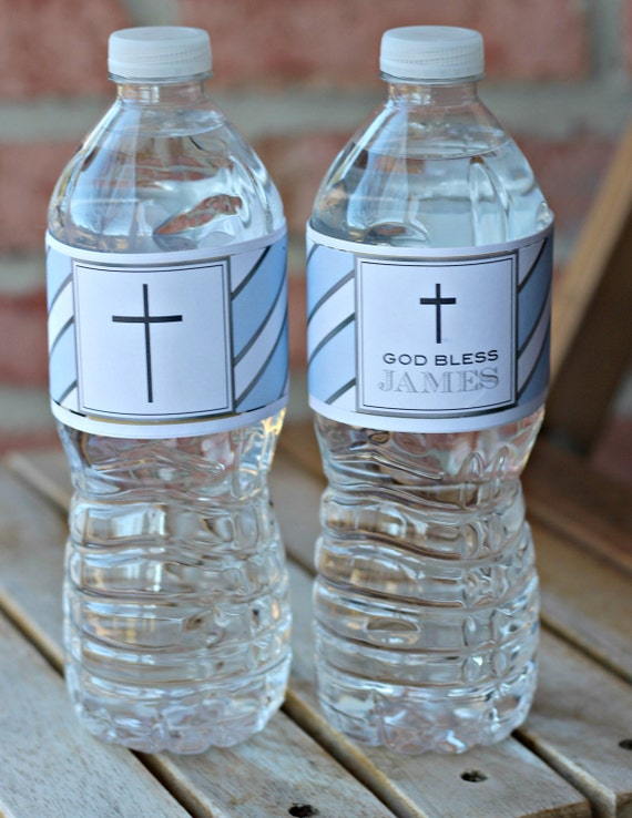 Baptism Communion Any Color YOUR PHOTO  Party Favors Water Bottle Labels Custom