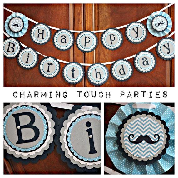 Little Man Birthday Bowtie Party Mustache Bash Decorations Happy Banner Boy 1st First