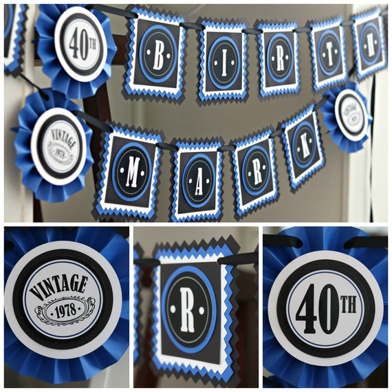 40th BIRTHDAY PARTY BANNER Milestone Birthday Party Decorations Vintage Dude Blue And Black 50th 60th