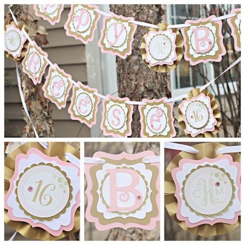 Birthday Banner Gold Glitter Name Banner Blush and Gold Glam Birthday PINK AND GOLD Banner Pink Baby Shower Welcome Baby Banner
