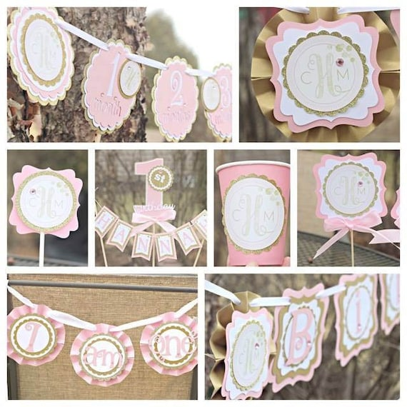 PINK AND GOLD 1st Birthday Party Decorations Girl