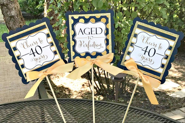 LADIES 40TH BIRTHDAY Decorations Birthday For Her Party Decor Navy Blue And Gold