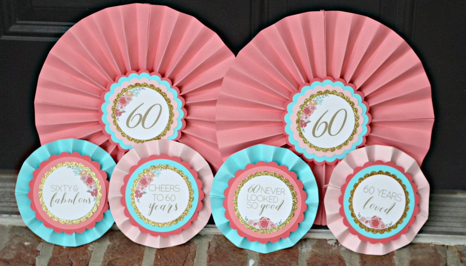 60TH BIRTHDAY DECORATIONS Decorative Rosettes Paper | Etsy