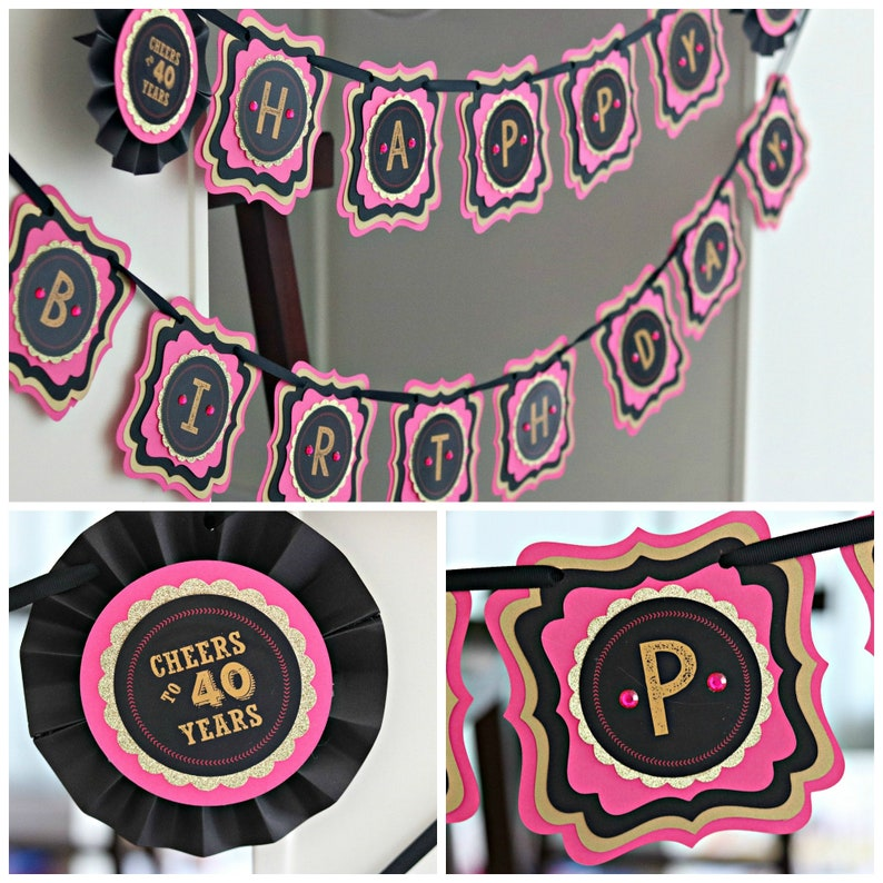 40th BIRTHDAY PARTY BANNER Party Decorations Hot Pink