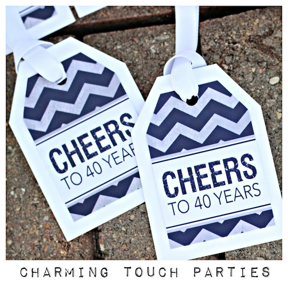 CHEERS TO 40 YEARS Favor Tags 40th Birthday Party Decorations Decor Milestone Navy Blue And Gray