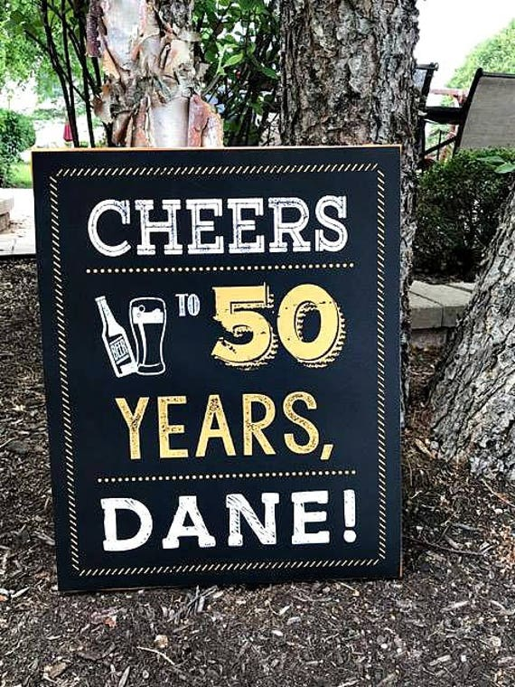 50TH BIRTHDAY DECORATIONS Printed Sign Welcome 50th Birthday Party Decorations Decor Cheers To 50 Years Black Gold