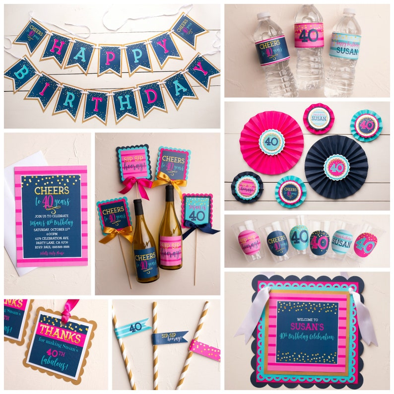 Hot Pink 40th Birthday Party Welcome Sign Feminine Birthday Fully Assembled or Printable Navy Blue Door Sign