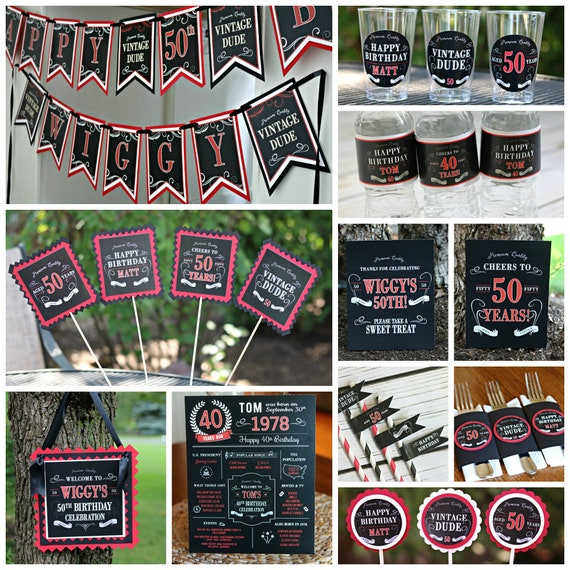 MASCULINE BIRTHDAY PARTY Decorations Vintage Dude Milestone Birthday Aged To Perfection Adult Decor Black And Red