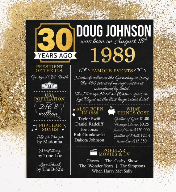 PRINTED 30th Birthday Poster Back In 1989 What Happened Decorations Black And Gold Party Decor Vintage