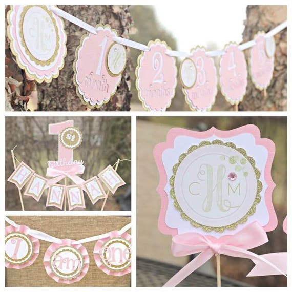 PINK AND GOLD 1st Birthday Party Decorations Girl Monogram Blush And Gold First Decor Package