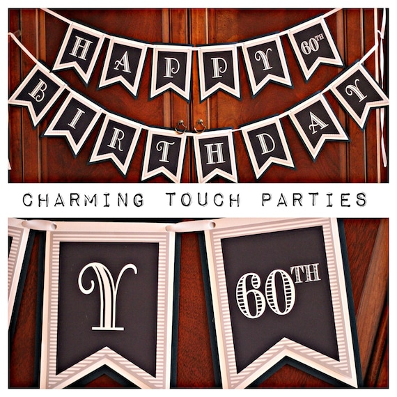 60TH BIRTHDAY BANNER 60th Birthday Party Decorations Cheers To 60 Years For Him Mens Masculine Blue Gray